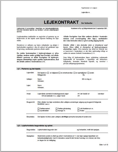 Screenshot af standard lejekontrakt A9 for beboelse i PDF